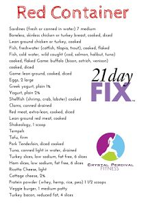21 Day Fix Food List by container.You can start a pinterest board and pin each of the photos to your board so that you can easily reference your approved foods on the go while your in the grocery shop!