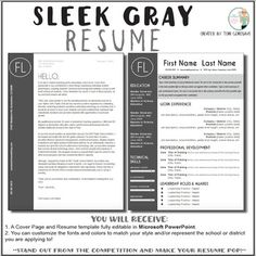 Teaching Resume Templates Teacher Resume Template  Sleek Gray And White  Teacher Resume .