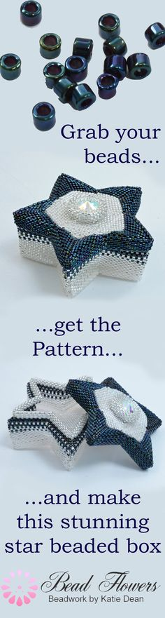 Peyote stitch beading pattern for a star shaped beaded box. Use Delica seed beads to make this. You can buy the beading pattern and the beads from Katie Dean, Beadflowers. Beaded Jewelry Designs, Seed Bead Jewelry, Bead Jewellery, Seed Beads, Bead Earrings, Peyote Beading Patterns, Beaded Bracelet Patterns, Beaded Bracelets, Glass