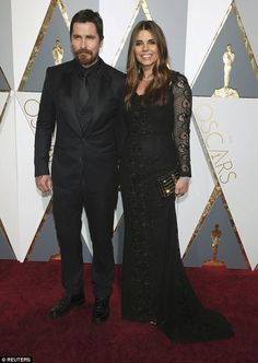 """Christian Bale and his beautiful wife Sibi Blazic posed together on the red carpet at the Academy Awards in Hollywood, California on Feb. Bale was nominated for Best Supporting Actor for """"The Big Short. Black Tie Wedding Attire, The Big Short, Best Supporting Actor, Christian Bale, Beautiful Wife, T Shirt And Shorts, Red Carpet Looks, Transformation Body, Formal"""