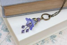 Lucite Flower Necklace Bluebell Charm Lavender by apocketofposies