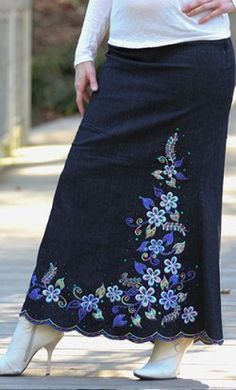 Floral embroidered full length jean skirts with scalloped hem available in sizes 2-18