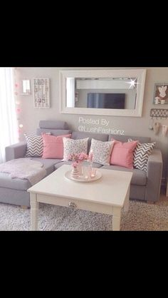 Dream House Goals Light Colored Rooms Grey Sofa Pink And White Pillows Living Room