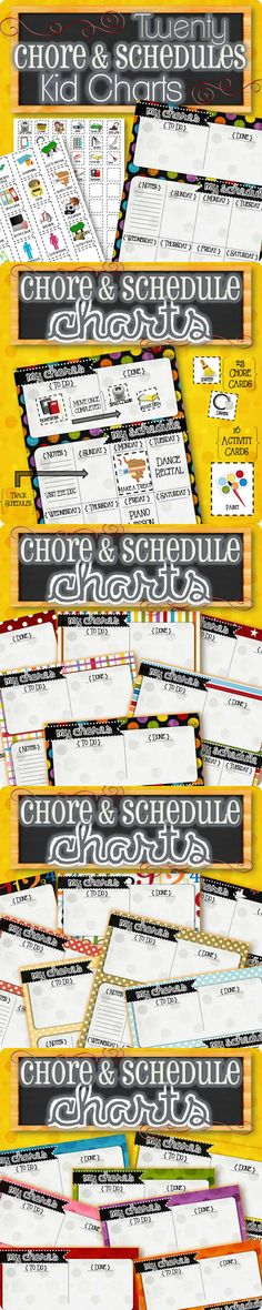 "Keep track of chores and schedules all on one page! Children slide chores from the ""To Do"" side to the ""Done"" area as they complete each task. Keep track of important notes, lessons, and activities on lower portion of the page. Simply print, laminate, and stay organized! Toddlers will enjoy picking activities for each day & older kids will learn how to manage time and schedules in a simple, yet effective way. 20 designs, 23 chore ideas, 16 activity ideas, and additional blank cards."