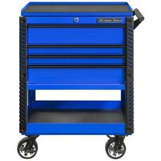 Extreme Tools 4 Drawer Deluxe Tool Cart with Bumpers, Blue with Black Drawer Pulls at Lowe's. Extreme Tools 33 In. 4 drawer deluxe tool cart with bumpers. The drawers have quick-release ball bearing slides, 100 Lbs. per set of slides. Drawer Pulls, Drawer Handles, Top Drawer, Drawer Liners, Bar Tools, Cool Tools, Steel Tool Box, Tool Cart, Portable Workstation