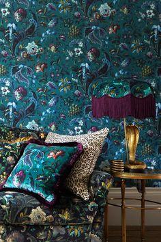 Jewel Tone Bedroom, Jewel Tone Decor, Jewel Tones, Eclectic Wallpaper, Bohemian Wallpaper, Victorian Wallpaper, Interior And Exterior, Interior Design, Purple Interior