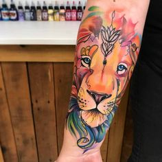 Lion's Face Tattoo on Arm
