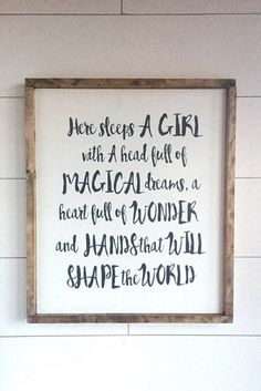 Large Wood Sign - Here Sleeps a GIRL With a Head full of MAGICAL DREAMS -Farmhouse Sign - Subway Sign - Wood Sign - Home Decor - Girls Bedroom - Farmhouse bedroom wall art - Rustic Nurersy decor #affiliatelink #HomemadeWallDecorations,
