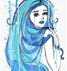 Girl with long hair vector 3863410 - by lolya1988 on VectorStock®