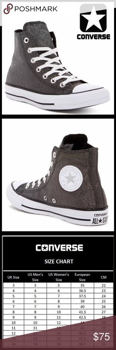 ❗️1-HOUR SALE❗️CONVERSE SNEAKERS Shimmer High Tops CONVERSE SNEAKERS Stylish Shimmer High Tops *NEW IN BOX* AUTHENTIC * SIZING-Women's Sizes  COLOR- Black , white   * Round rubber cap toe * Lace-up closure * Contrast stitching  * Lightly padded footbed & textured grip sole * Allover shimmering glamorous canvas construction MATERIAL Textile upper, textile, rubber sole  ❌NO TRADES❌ ✅BUNDLE DISCOUNTS✅ OFFERS CONSIDERED ITEM#C95800 SEARCH # All Star Hi Top Chuck Taylor flatform wedge glam…
