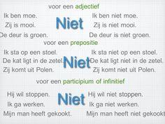 Negatie : gebruik van NIET 01 Dutch Phrases, Dutch Words, Dutch Language, Learn A New Language, Verbs List, Learn Dutch, Going Dutch, Kids Education, Good To Know