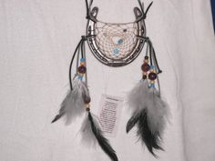 Horse shoe Dream Catcher gray feathers wooden and Turquoise beads,  order in red or red and white for your Sweethearts Valentines day on Etsy, $35.00