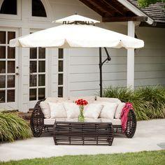 Tahiti Outdoor Beige Cantilever Patio Canopy Umbrella & Base