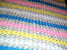 Baby Afghan- Multi pastel stripes.