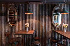 Reclaimed wood wall decor corrugated metal pig on rustic. Rustic Restaurant, Restaurant Design, Restaurant Lighting, Tin Walls, Metal Walls, Metal Wall Panel, Corrugated Metal, Wood Wall Decor, Rustic Interiors