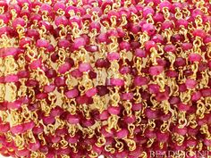 Genuine Ruby Wirewrapped Gemstone Rosary Chain 3x2mm by Beadspoint, $19.99