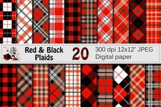 Red and Black Plaids - Buffalo Plaid, Lumberjack Digital paper By VR Digital Design