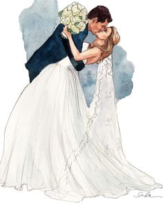 You May Kiss the Bride Illustration // via inslee Paar Illustration, Wedding Illustration, Illustration Mode, Couple Illustration, Portrait Illustration, Wedding Drawing, Wedding Dress Sketches, Wedding Art, Wedding Couples