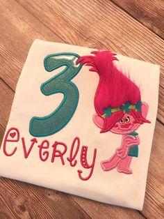 Trolls Custom Shirt, Poppy, Embroidered Birthday Shirt, Personlized Troll Shirt, Numbers 1-9 by StitchItToMeByNiki on Etsy https://www.etsy.com/listing/259857495/trolls-custom-shirt-poppy-embroidered