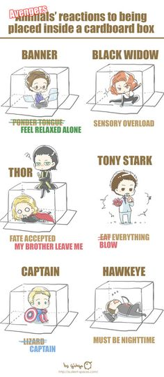 How the avengers react to a cardboard box.