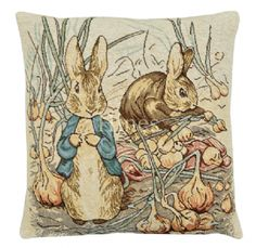 Peter Benjamin - Fine Woven Tapestry Cushion From Beatrix Potters timeless tales Fine Woven Tapestry Cushion finished with luxurious British velvet