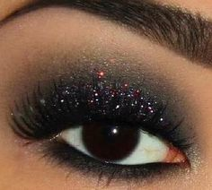 eyemakeup red and gold with sparkle - winter guard show
