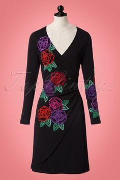 d900d6bb461223 60s Buenos Aires Embroidery Dress in Black