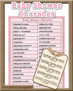 Exceptional Baby Charades Shower Game Printable Baby By SunnysideCottageArt