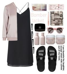 """Bomber Jacket"" by tiffanyelinor ❤ liked on Polyvore featuring Miss Selfridge, Topshop, FitFlop, Chanel, Anastasia, Menu, Sisley Paris, Illesteva, Clips and bomberjacket"