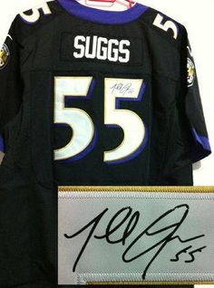 061670d1f Nike Ravens  55 Terrell Suggs Black Alternate Men s Embroidered NFL Elite  Autographed Jersey And
