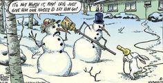 "Looks like Mr & Mrs Snowman are havin' a bad ""hare"" day. :)"