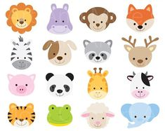 Animal Face Clipart Animal Head Clipart Cute Animal Clipart Baby Animal Clipart Jungle Zoo Clipart Clip Art - Digital Instant Download