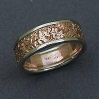 14k rose gold oak leaf band with 14k white gold rims