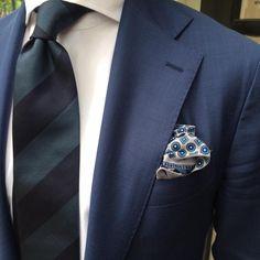 "violamilano: "" @bastan1 of @gallery_tailors wearing a Viola Milano handrolled block stripe tie & handprinted silk pocket square… Shop online at www.violamilano.com #violamilano #handmade #madeinitaly..."