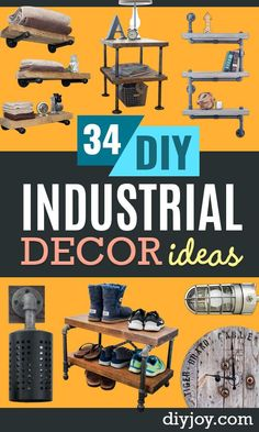 DIY Industrial Decor - Knock Off Industrial Side Table - Industrail Shelves Furniture Table Desk Cart Headboard Chandelier Bookcase - Easy Pipe Shelf Tutorial - Rustic Farmhouse Home Decor on A Budget - Lighting Ideas for Bedroom Bathroom and Kitchen Diy Industrial Interior, Industrial Pipe Shelves, Industrial Interior Design, Industrial House, Industrial Interiors, Industrial Style, Diy Home Decor Projects, Cool Diy Projects, Diy Room Decor