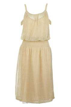 Light gold twin-set strap dress $35