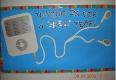 Back to school bulletin board - wrote students' names on iPod screen