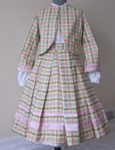 Little Sisters #014-001 | Civil War Dresses 3 piece pink, green and white plaid little girls zouave, skirt and blouse.