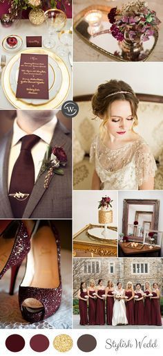 Burgundy is one of our favorite wedding colors. The berry-hued, wine-inspired jewel tone isa perfect addition to any fall or winter color palette, but can alsowork for somedaring spring and summer palettes as well. Wedding Goals, Wedding Themes, Wedding Planning, Wedding Dresses, Wedding Ideas, Wedding Bridesmaids, Gold Wedding Theme, Wedding Locations, Wedding Decor