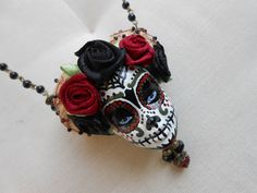 Fall Jewelry, Beaded Jewelry, Jewellery, Earrings Handmade, Handmade Jewelry, Sugar Skull Jewelry, Flower Headdress, Bad Barbie, Crane