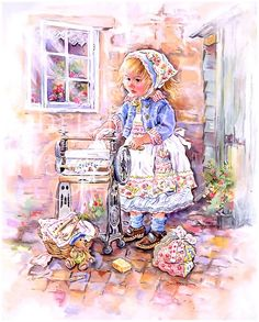 Paintbox Poppets : Washday With Teddy © Copyright Christine Haworth Designs