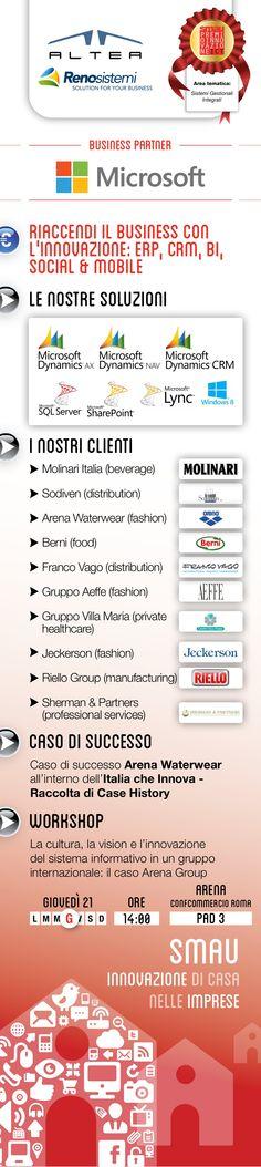 ALTEA SPA e RenoSistemi Live from SMAU Business Roma 2013  Vieni alla Fiera di Roma, Padiglione 3 stand C1, visita il Microsoft Village e scopri con noi le best practice tecnologiche per la tua azienda: ERP, CRM, BI, Social & Mobile  Giov 21.03 BUSINESS WORKSHOP dedicato ad ARENA, che con Microsoft Dynamics NAV - Pebblestone Fashion sostiene l'internazionalizzazione.   Grazie a Molinari | Sodiven | Arena | Berni | Franco Vago | Aeffe | Gruppo Villa Maria | Jeckerson | Riello | Sherman…