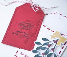 Project by Ashley Cannon Newell for Papertrey Ink (October 2014 - Merry Kiss-mas + Stitched Tag)