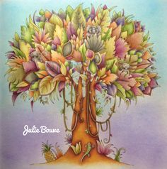 Julie Bouve with a multi part tutorial for Magical Jungle by Johanna Basford; Sept 2016 #juliebouve #magicaljungle #johannabasford