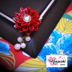Kanzashi - Flor com pérolas Pearl Earrings, Brooch, Nice, Instagram Posts, Jewelry, Fashion, Flower, Brooch Pin, Jewellery Making