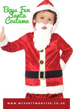1c92f98cac4 Jolly Santa Boy Christmas Fancy Dress Costumes Includes Ho Ho Ho Sound Chip  With Red And
