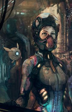 Cyberpunk, Future Girl, Futuristic, Mask, Dystopia, Post-Apocalyptic, rust hour by ~tsad
