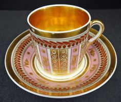 This porcelain tea cup and saucer was produced in France by a Paris Porcelain decorator circa 1800.