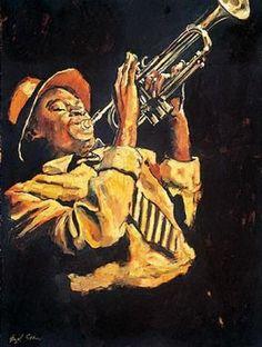 Giclee Print: Trumpet Player Art Print by Hazel Soan by Hazel Soan : Jazz Painting, Art Pictures, Photos, Blue Drawings, Trumpet Players, Jazz Art, Poster Prints, Art Prints, Afro Art