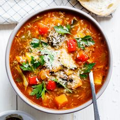 Everyone needs a good, easy vegetable soup recipe in their repertoire for days when you need healthy vegetarian comfort food in minutes.